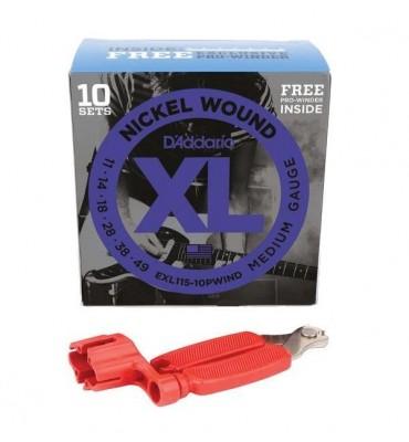 D'Addario EXL115-10PWIND Set da 10 Mute 011-049 Corde per Chitarra Elettrica