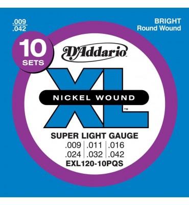 D'Addario EXL120-10PQS Set da 10 Mute 009-042 Corde per Chitarra Elettrica