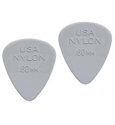 Dunlop 4410-R-60 Plettri per chitarra serie Nylon Standard 0.60mm 2 Pezzi
