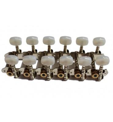 Boston 047-125-P Meccaniche per chitarra 12 corde 125mm, pioli perlati