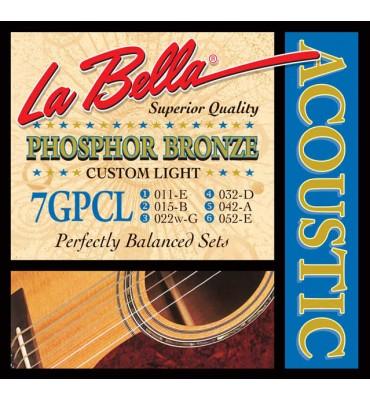 La Bella 7GPCL Muta di corde per chitarra acustica, 011-052