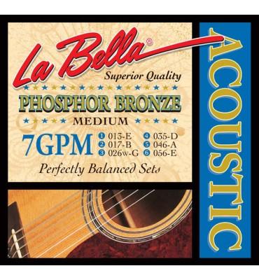La Bella 7GPM Muta di corde per chitarra acustica, 013-056