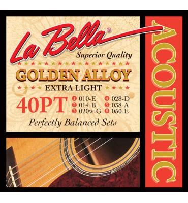 La Bella 40PT Muta di corde per chitarra acustica, 010-050