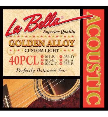La Bella 40PCL Muta di corde per chitarra acustica, 011-052