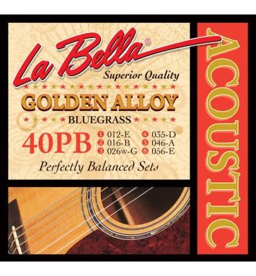 La Bella 40PB Muta di corde per chitarra acustica Bluegrass, 012-056