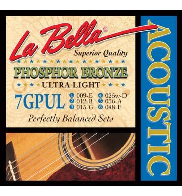 La Bella 7GPUL Muta di corde per chitarra acustica, 009-048