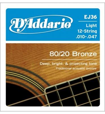 D'addario EJ36 80/20 - 10/47 Muta per chitarra acustica 12 corde