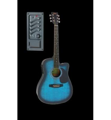 STRATOS AG-60C4EQ-TBLS Chitarra acustica elettrificata blu tigrata spalla mancante